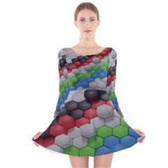 Hexagonal Wallpaper Random Blender Long Sleeve Velvet Skater Dress