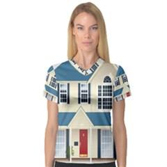 House Residence Blue Women s V-Neck Sport Mesh Tee