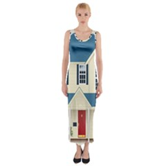 House Residence Blue Fitted Maxi Dress