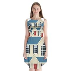 House Residence Blue Sleeveless Chiffon Dress