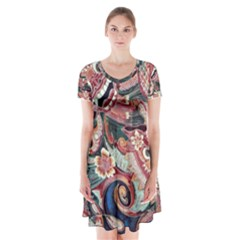 Indonesia Bali Batik Fabric Short Sleeve V-neck Flare Dress