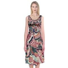 Indonesia Bali Batik Fabric Midi Sleeveless Dress