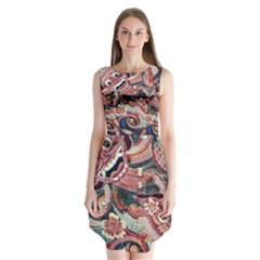 Indonesia Bali Batik Fabric Sleeveless Chiffon Dress