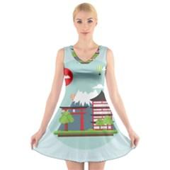 Japan Landmark Landscape View V-Neck Sleeveless Skater Dress