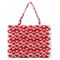 Love Hearts Valentine S Day Pink Medium Zipper Tote Bag