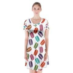 Macaron Macaroon Stylized Macaron Short Sleeve V-neck Flare Dress