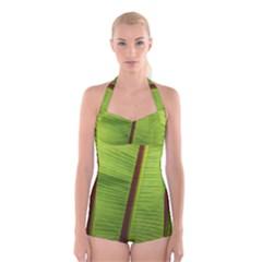 Ensete leaf Boyleg Halter Swimsuit