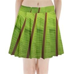 Ensete leaf Pleated Mini Skirt