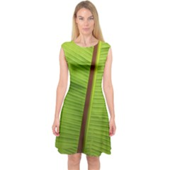Ensete Leaf Capsleeve Midi Dress