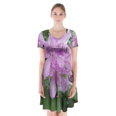Purple Rhododendron Flower Short Sleeve V-neck Flare Dress