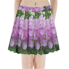 Purple Rhododendron Flower Pleated Mini Skirt