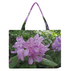 Purple Rhododendron Flower Medium Zipper Tote Bag