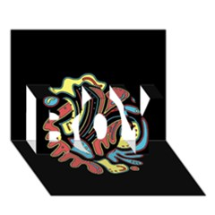 Colorful abstract spot BOY 3D Greeting Card (7x5)