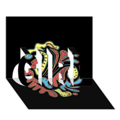 Colorful abstract spot GIRL 3D Greeting Card (7x5)