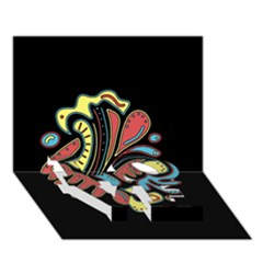 Colorful abstract spot LOVE Bottom 3D Greeting Card (7x5)