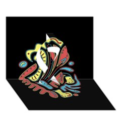 Colorful abstract spot Ribbon 3D Greeting Card (7x5)