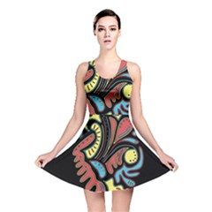 Colorful abstract spot Reversible Skater Dress