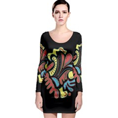 Colorful abstract spot Long Sleeve Bodycon Dress