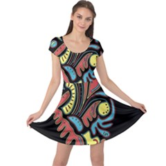 Colorful abstract spot Cap Sleeve Dresses