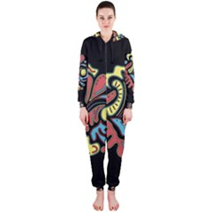 Colorful abstract spot Hooded Jumpsuit (Ladies)