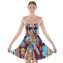 Mexico Puebla Mural Ethnic Aztec Strapless Bra Top Dress
