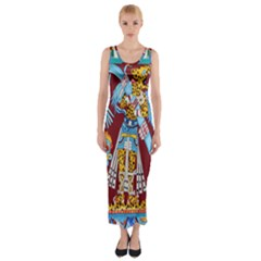 Mexico Puebla Mural Ethnic Aztec Fitted Maxi Dress