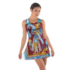 Mexico Puebla Mural Ethnic Aztec Cotton Racerback Dress