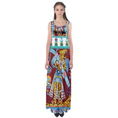 Mexico Puebla Mural Ethnic Aztec Empire Waist Maxi Dress