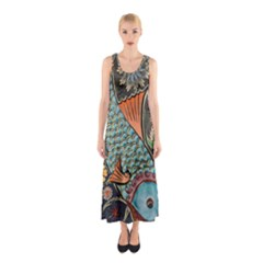 Fish Mosaic  Sleeveless Maxi Dress