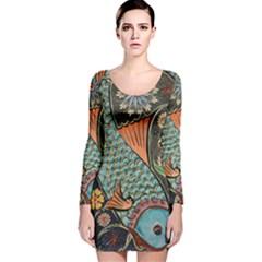 Fish Mosaic  Long Sleeve Velvet Bodycon Dress