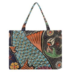 Fish Mosaic  Medium Zipper Tote Bag