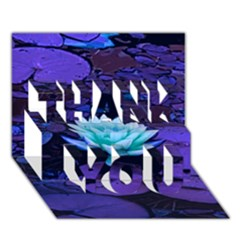 Lotus Flower Magical Colors Purple Blue Turquoise THANK YOU 3D Greeting Card (7x5)