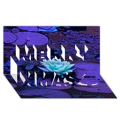 Lotus Flower Magical Colors Purple Blue Turquoise Merry Xmas 3d Greeting Card (8x4)