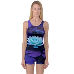 Lotus Flower Magical Colors Purple Blue Turquoise One Piece Boyleg Swimsuit