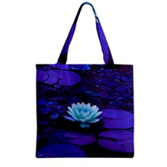 Lotus Flower Magical Colors Purple Blue Turquoise Grocery Tote Bag
