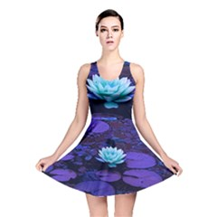 Lotus Flower Magical Colors Purple Blue Turquoise Reversible Skater Dress