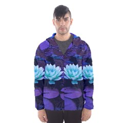 Lotus Flower Magical Colors Purple Blue Turquoise Hooded Wind Breaker (men)