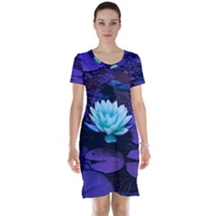 Lotus Flower Magical Colors Purple Blue Turquoise Short Sleeve Nightdress
