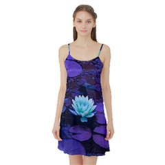 Lotus Flower Magical Colors Purple Blue Turquoise Satin Night Slip