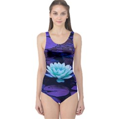 Lotus Flower Magical Colors Purple Blue Turquoise One Piece Swimsuit