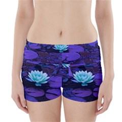 Lotus Flower Magical Colors Purple Blue Turquoise Boyleg Bikini Wrap Bottoms
