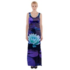 Lotus Flower Magical Colors Purple Blue Turquoise Maxi Thigh Split Dress