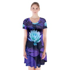 Lotus Flower Magical Colors Purple Blue Turquoise Short Sleeve V-neck Flare Dress