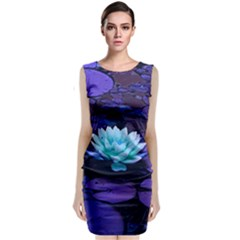 Lotus Flower Magical Colors Purple Blue Turquoise Classic Sleeveless Midi Dress