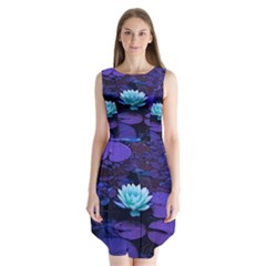 Lotus Flower Magical Colors Purple Blue Turquoise Sleeveless Chiffon Dress