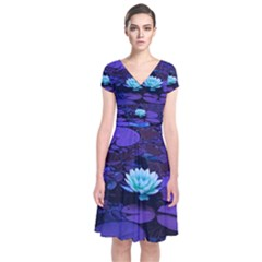 Lotus Flower Magical Colors Purple Blue Turquoise Short Sleeve Front Wrap Dress