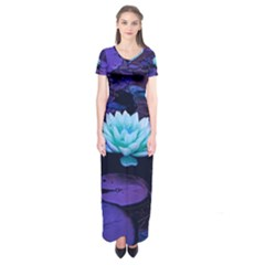 Lotus Flower Magical Colors Purple Blue Turquoise Short Sleeve Maxi Dress
