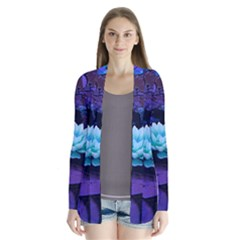 Lotus Flower Magical Colors Purple Blue Turquoise Drape Collar Cardigan