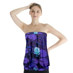 Lotus Flower Magical Colors Purple Blue Turquoise Strapless Top