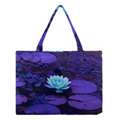 Lotus Flower Magical Colors Purple Blue Turquoise Medium Tote Bag
